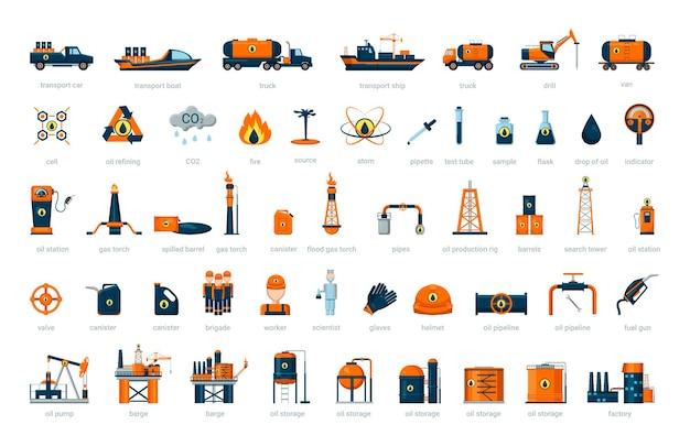 Coleção de objetos da indústria do petróleo Vetor Premium