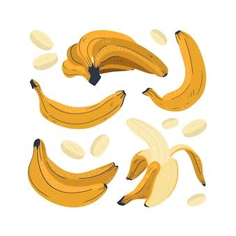 Coleção de objetos de banana fofa. inteiro, cortado ao meio, cortado em pedaços de banana