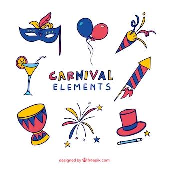 Coleção de objetos de carnaval desenhada mão