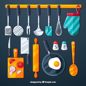 Coleção de objetos de cozinha