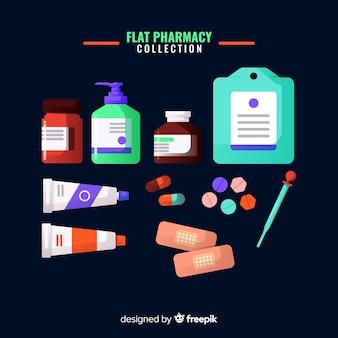 Coleção de objetos de farmacêutico plana