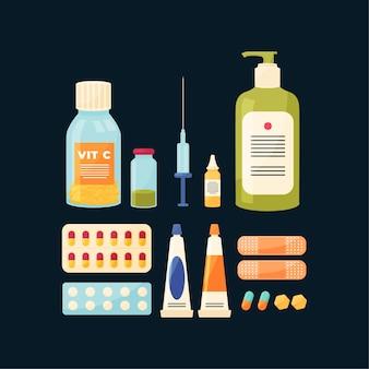 Coleção de objetos de farmacêutico
