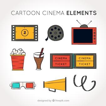 Coleção de objetos de filmes desenhados à mão