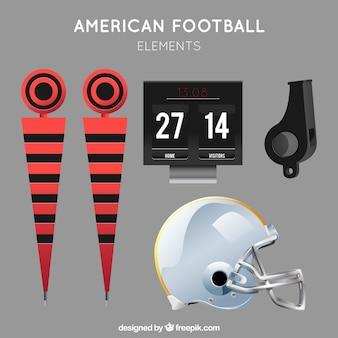 Coleção de objetos de futebol americano realistas