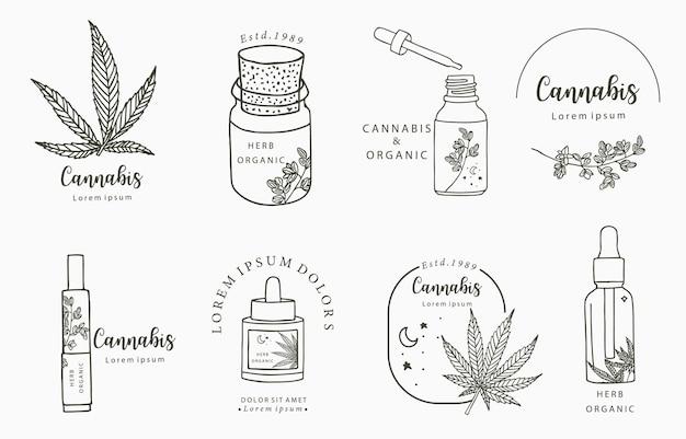 Coleção de objetos de linha, cannabis, garrafa, conta-gotas, estrela, forma