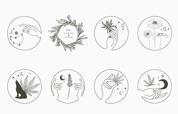 Coleção de objetos de linha com mão, cannabis, lavanda, girassol, lua