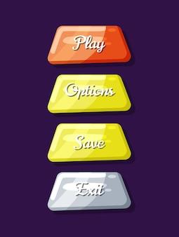Coleção de objetos de navegação do menu do jogo de computador