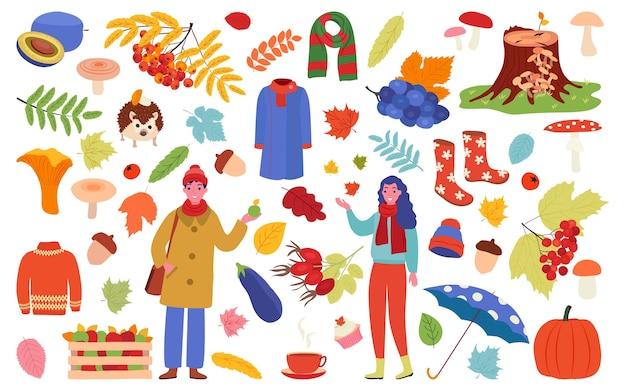 Coleção de objetos de outono para decoração