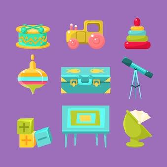 Coleção de objetos de quarto de crianças