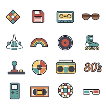 Coleção de objetos do vintage dos anos oitenta