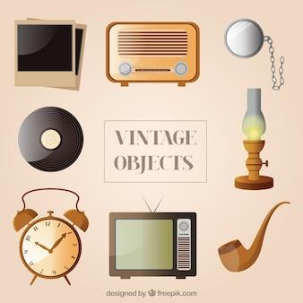 Coleção de objetos do vintage