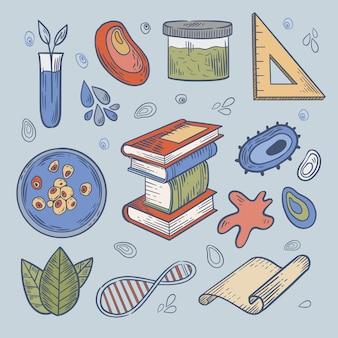 Coleção de objetos e bactérias do laboratório de ciências