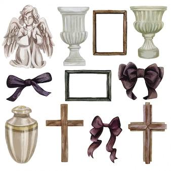 Coleção de objetos funerários, vasos e laços, desenhados à mão