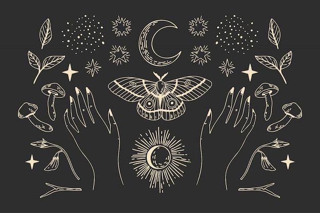Coleção de objetos místicos