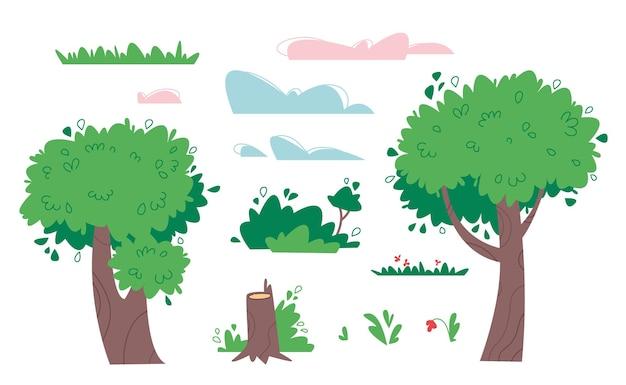 Coleção de objetos naturais - árvores, arbustos, grama, nuvens e tocos em um fundo branco. isolado de ilustração de clipart de desenhos animados.