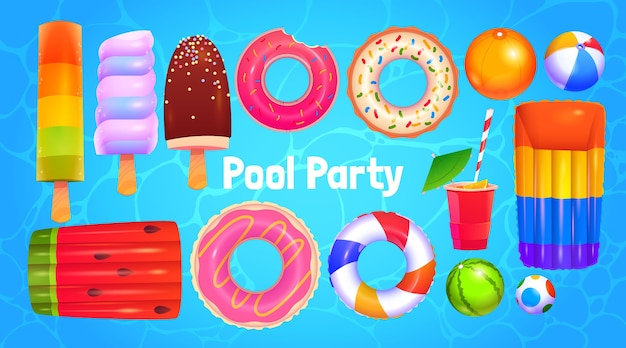 Coleção de objetos para festa na piscina de desenho animado