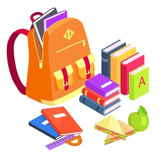 Coleção de objetos relacionados à escola em branco