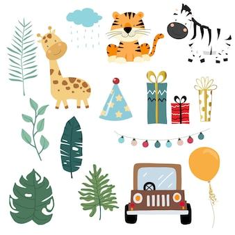 Coleção de objetos safari com girafa, zebra, tigre, carro, presente.