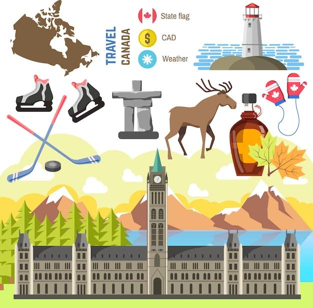 Coleção de objetos tradicionais de viagens canadá