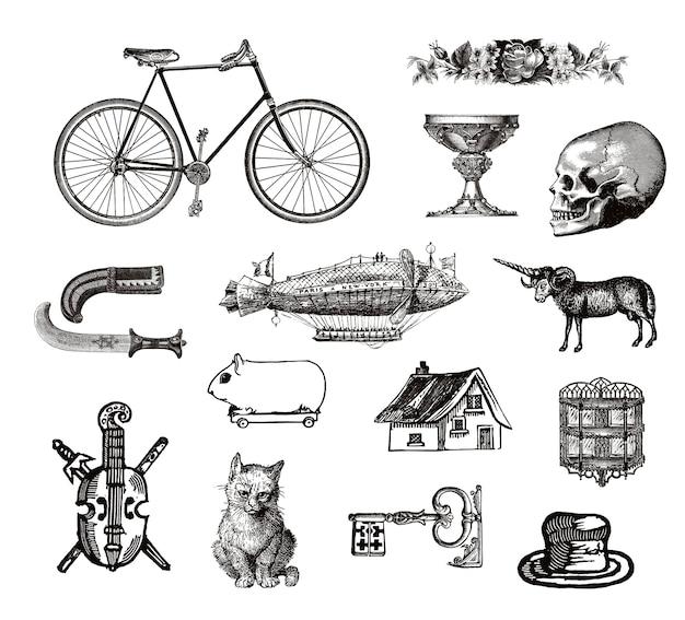 Coleção de objetos vitoriana vintage