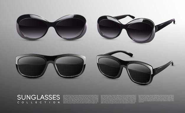 Coleção de óculos de sol elegantes e realistas
