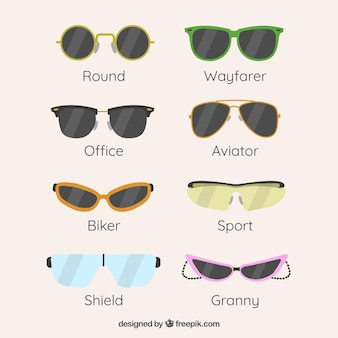 Coleção de óculos de sol moderno em estilo simples