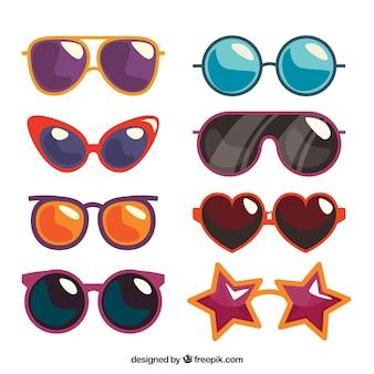 Coleção de óculos de sol sazonais em syle plana
