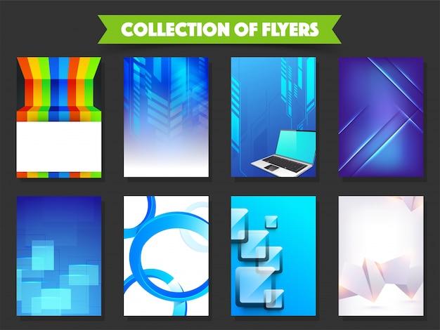 Coleção de oito folhetos para o conceito de negócio.