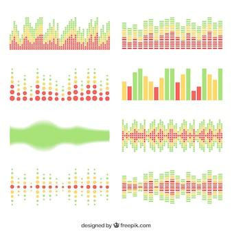 Coleção de oito ondas sonoras em design plano