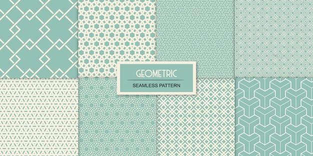 Coleção de oito padrões sem emenda transparentes geométricos