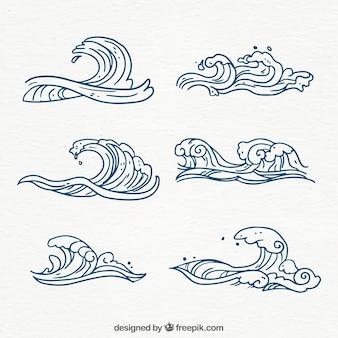 Coleção de ondas desenhadas mão