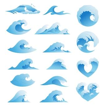 Coleção de ondas do oceano