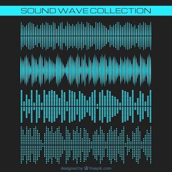 Coleção de ondas sonoras azuis