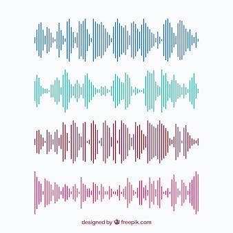 Coleção de ondas sonoras coloridas feitas de linhas