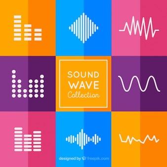 Coleção de ondas sonoras com fundo colorido
