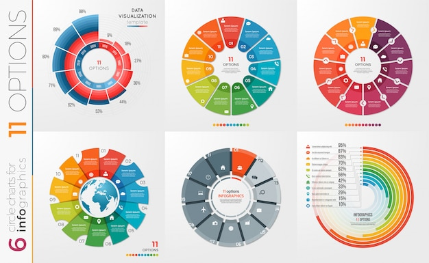 Coleção de opções de modelos de gráfico de círculo.