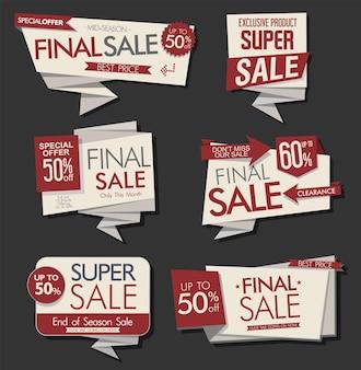 Coleção de origami de etiquetas e banners de venda modernos