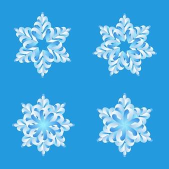 Coleção de origami de flocos de neve. elementos de decoração de feliz natal e feliz ano novo.