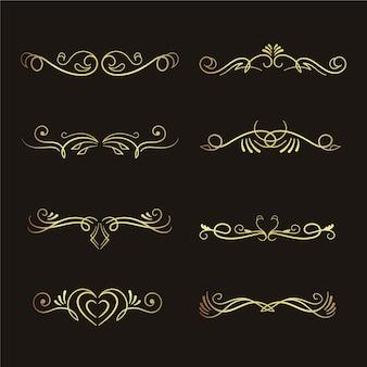 Coleção de ornamento caligráfico dourado de luxo