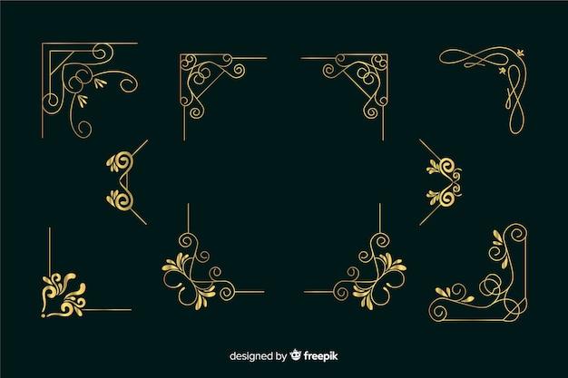 Coleção de ornamento de borda dourada sobre fundo verde escuro