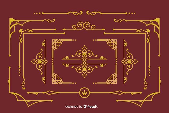 Coleção de ornamento de borda dourada