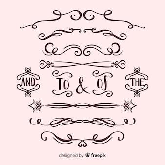 Coleção de ornamento de casamento caligráfico