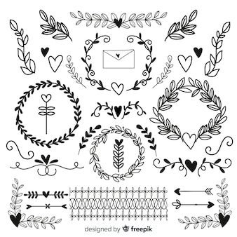 Coleção de ornamento de casamento mão desenhada