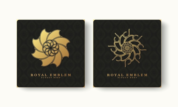 Coleção de ornamento de logotipo de luxo de estilo clássico