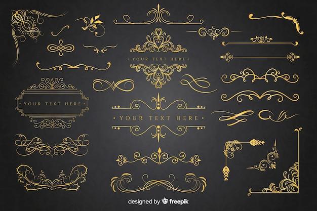 Coleção de ornamento dourado