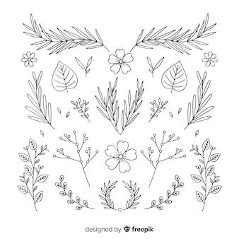 Coleção de ornamento floral desenhada de mão