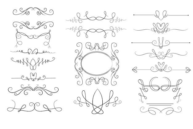 Coleção de ornamentos caligráficos desenhados à mão