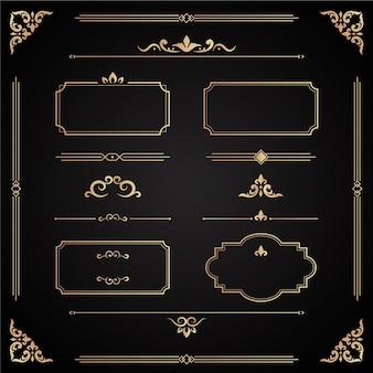 Coleção de ornamentos caligráficos dourados
