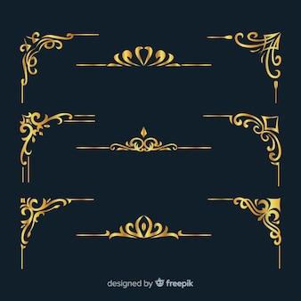 Coleção de ornamentos de borda dourada