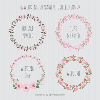 Coleção de ornamentos de casamento de design plano